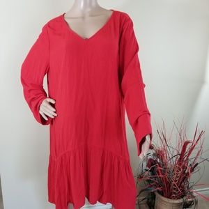 Soft Surroundings Red Long Sleeves V-neck Dress